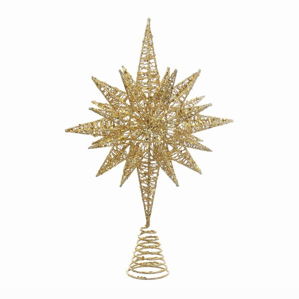 Christmas Tree Topper.Gold Glitter Star Christmas Tree Topper