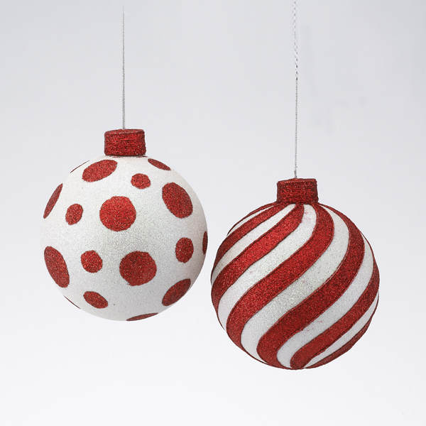 Red/White Polka Dot/Striped Ball Ornament - Item 100765 ...