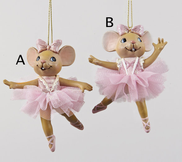 Jbigg S Little Pieces Byers Choice Carolers: Ballet Mouse In Pink Dress Ornament