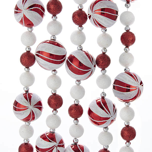6 Foot Red White Peppermint Candy Ball Garland