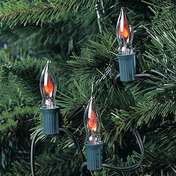 Set of 10 Flickering Lights With Green Wire & Flicker Flame Bulbs - Set Of 10 Flickering Lights With Green Wire & Flicker Flame Bulbs