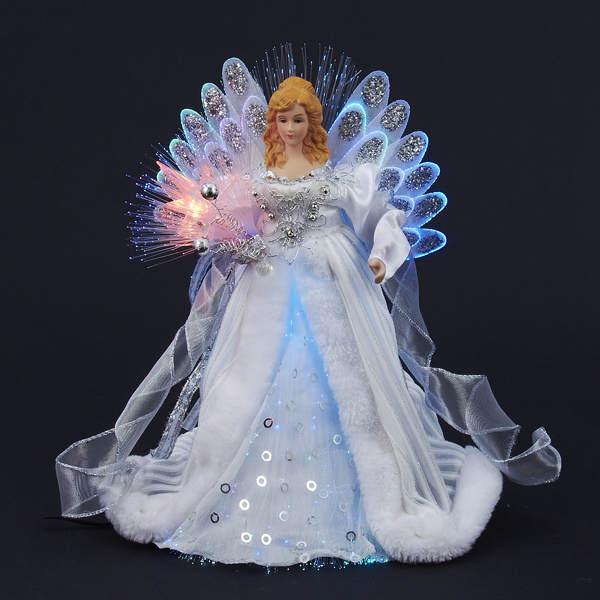 White Silver Led Fiber Optic Angel Tree Topper Item