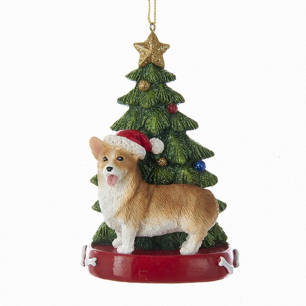 corgi with santa hat christmas tree red dog bed ornament - Corgi Christmas Ornaments