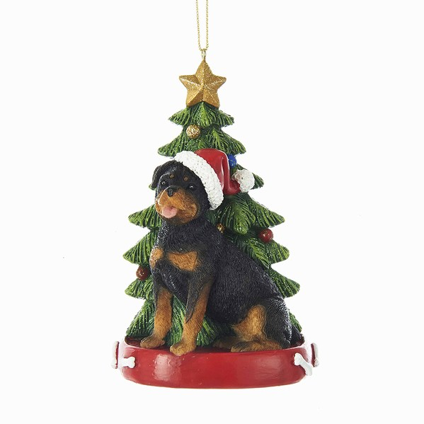 Rottweiler With Santa Hat Christmas Tree Red Dog Bed Ornament