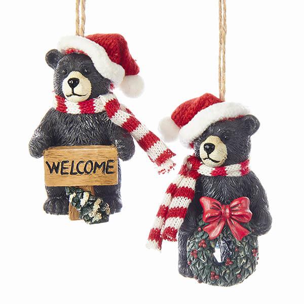 Beary Christmas Black Bear with Sign Christmas Ornament