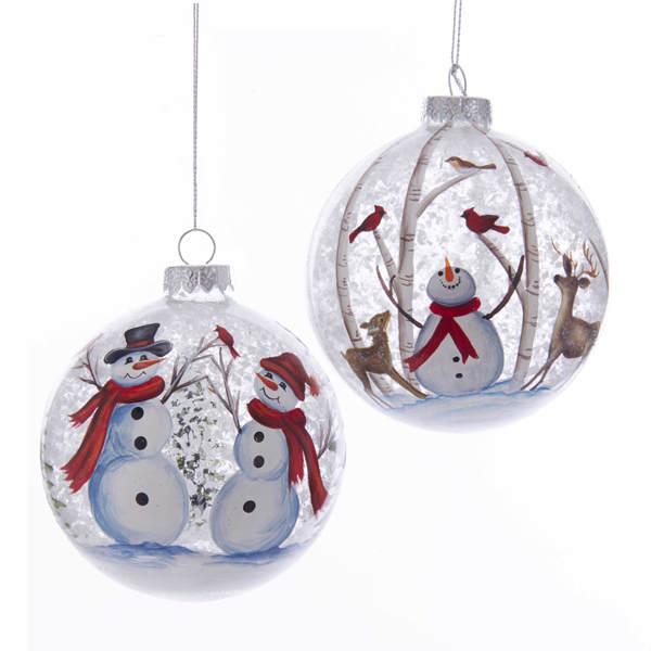 Snowman Deer Scene Ball Ornament Item 106544 The Christmas Mouse