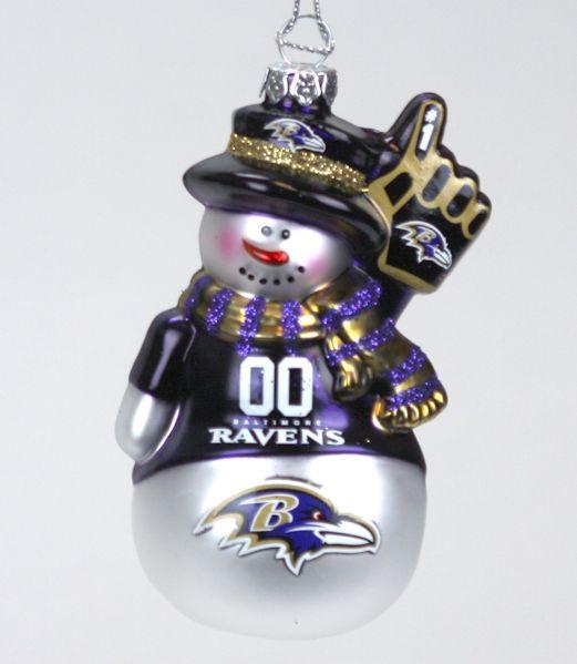Baltimore Ravens Glittered Snowman Ornament - Baltimore Ravens Glittered Snowman Ornament - Item 141353 - The