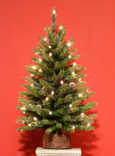 timeless design d0e76 a9212 2.5 Foot Cascade Crystal Pine Pre-Lit Artificial Tabletop Christmas Tree  With 50 Clear Brilliant Lights