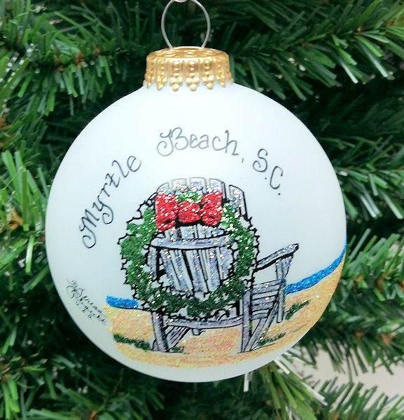Beach Chair Christmas Wreath Ornament Myrtle