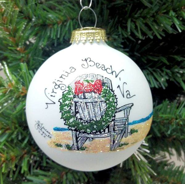 virginia beach chair with christmas wreath ornament - Beach Christmas Ornaments