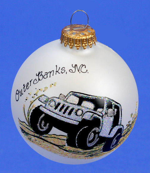 Jeep Christmas Ornament.Outer Banks Nc Silver Jeep Ornament