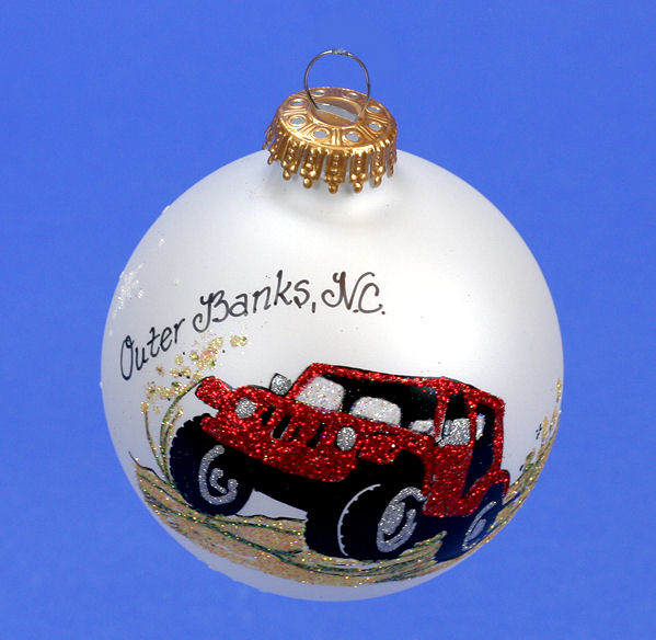 Jeep Christmas Ornament.Outer Banks Nc Red Jeep Ornament