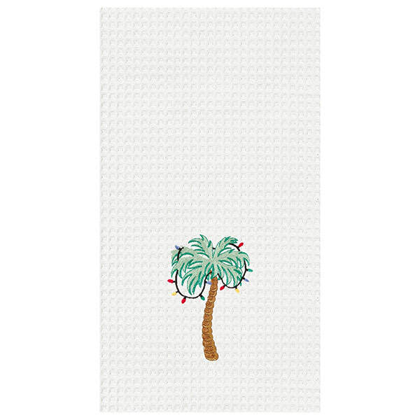 Palm Tree With Christmas Lights Kitchen Towel