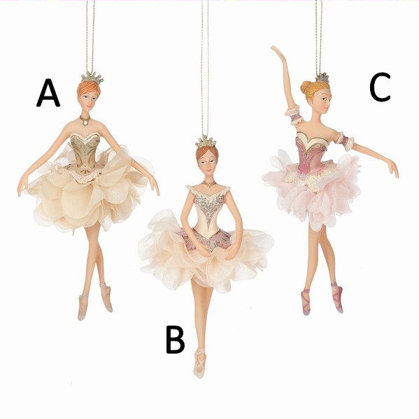 Jbigg S Little Pieces Byers Choice Carolers: Princess Ballerina In Gold/Cream/Pink Dress Ornament
