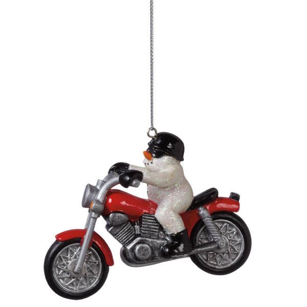 snowman on motorcycle ornament