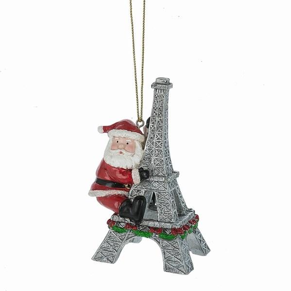 santa with eiffel tower ornament