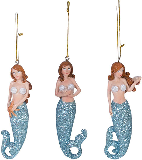 Jbigg S Little Pieces Byers Choice Carolers: Redhead Mermaid With Blue/Green Tail & Shell Ornament