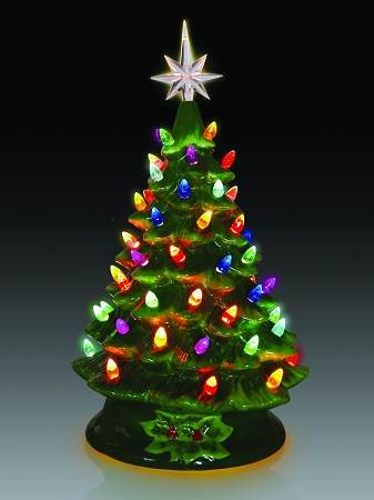 lighted tabletop ceramic christmas tree with multicolor bulbs