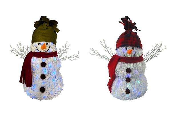 fiber optic snowman sit around - Fiber Optic Snowman Christmas Decorations