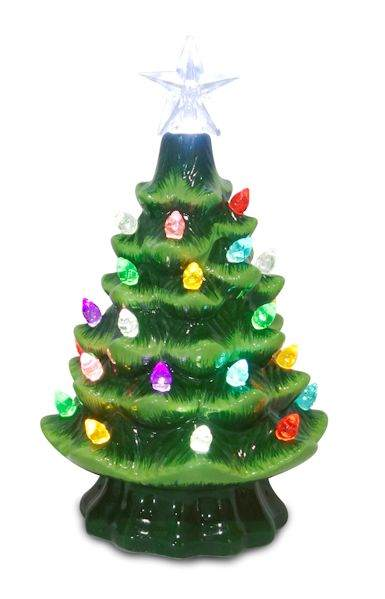 small green ceramic tabletop christmas tree with multicolor lights