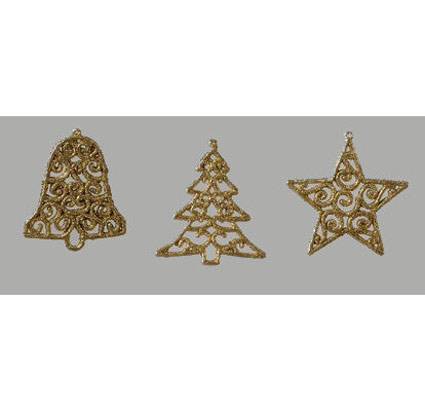 Gold Bell Christmas Tree Star Ornament