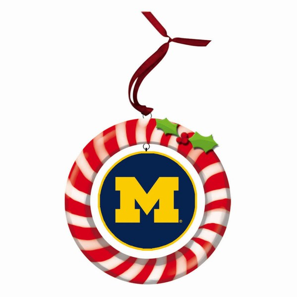 University of Michigan Wolverines Candy Cane Wreath Ornament