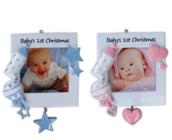 Blue/Pink Baby\'s First Christmas Photo Frame Ornament - Item 459220 ...