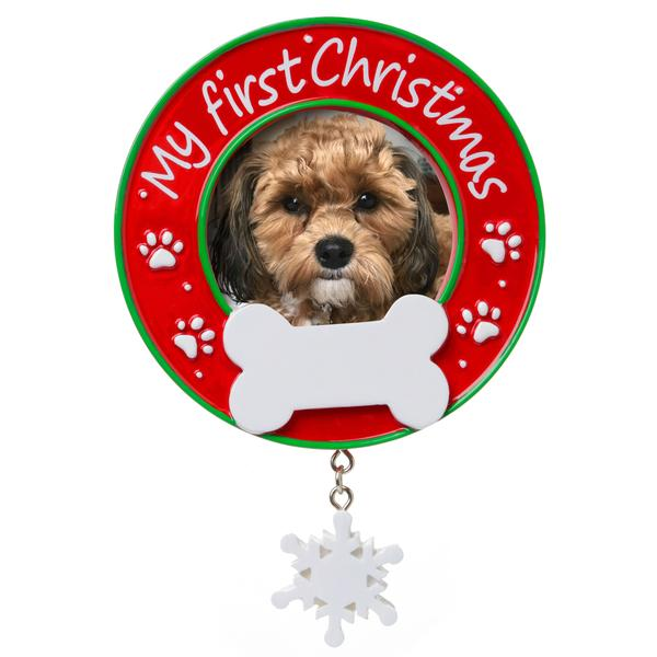Dogs First Christmas Ornament.Dog S First Christmas Photo Frame Ornament