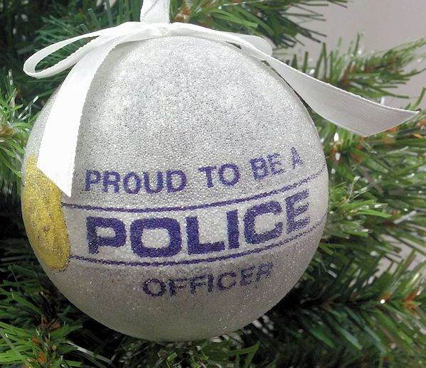 proud to be a police officer ball ornament - Police Officer Christmas Decorations