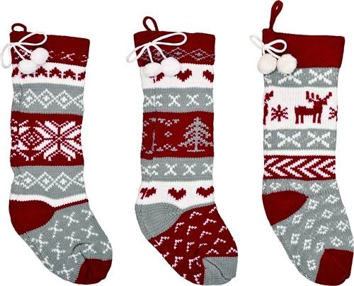Knit Christmas Stockings.Red White Gray Knit Christmas Stocking