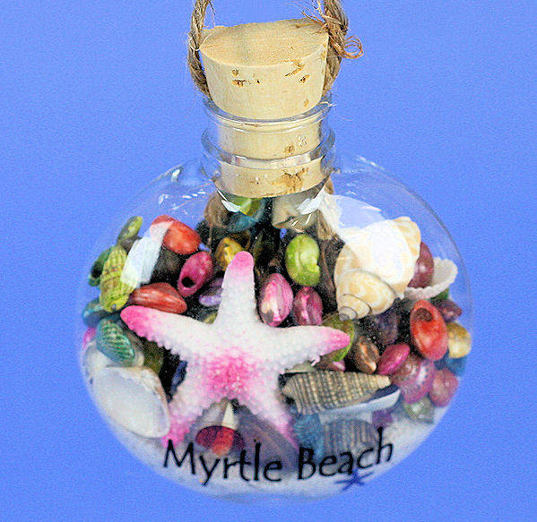 myrtle beach bottle with sand shells ornament - Christmas Mouse Myrtle Beach