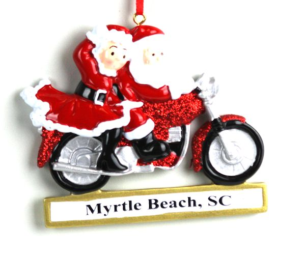 myrtle beach santa mrs claus on motorcycle ornament - Christmas Mouse Myrtle Beach