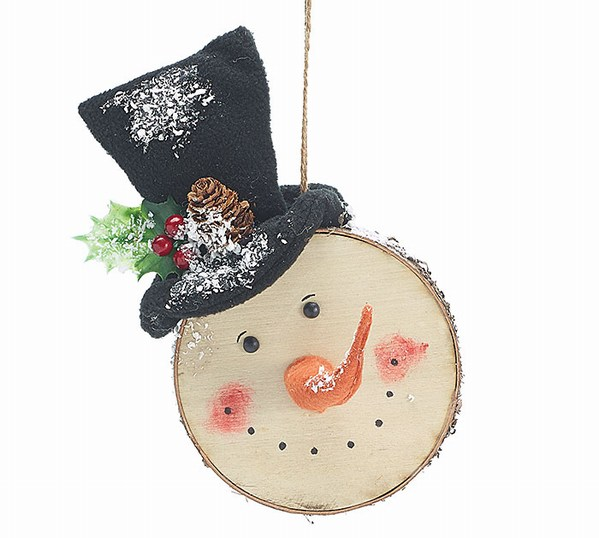 Christmas Top Hat Ornaments.Flocked Snowman Head With Top Hat Ornament