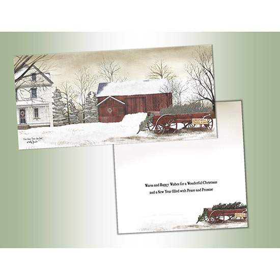 Red Barn Christmas Note Cards