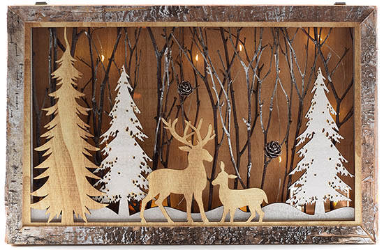Rusty Trees with Deer in Wooden Box Christmas Decoration 4175