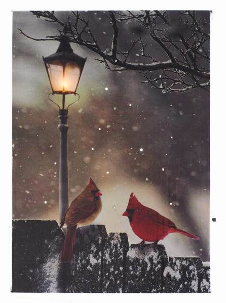 two cardinals with street light canvas print