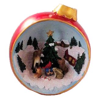 Christmas Diorama Ornaments.Led Lighted Animals With Christmas Tree Ornament Diorama