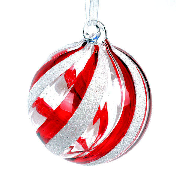 Red White Swirl Stripe Ball Ornament Item 803002 The Christmas Mouse