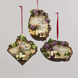 tuscan wine plaque with saying ornament