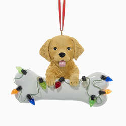 golden retriever with bone christmas lights ornament