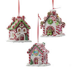 battery operated led gingerbread candy house ornament - Gingerbread Christmas Decorations
