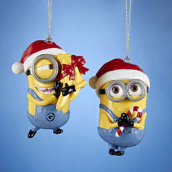 despicable me minion with santa hat ornament