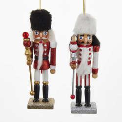 redwhiteblack nutcracker with fur hat ornament