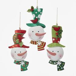 multicolor glitter snowman head ornament