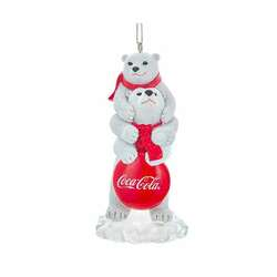 pair of polar bears with coca cola sign ornament