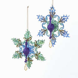 purple peacock with greenblue snowflake ornament