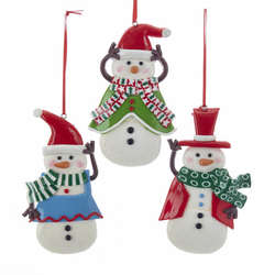 snowman in bluegreenred outfit ornament
