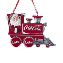 santa on coke train ornament
