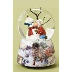 Kid With Snowman Musical Snow Globe