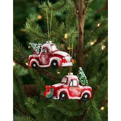 red pickup truck ornaments and decor